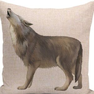 Other - Pillow Cover- New - Wild Animal Gray  Wolf Howls